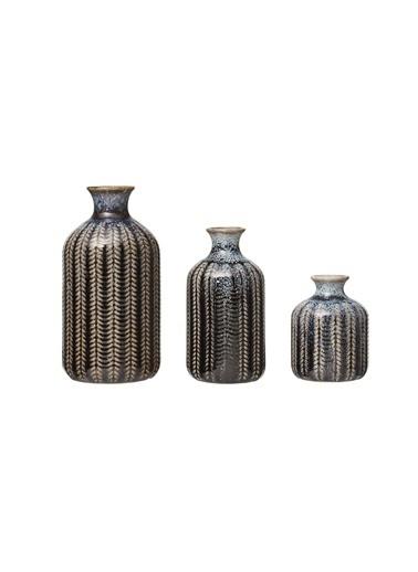 Warm Design 3'Lü Set Kabartmalı Porselen Vazolar Mavi